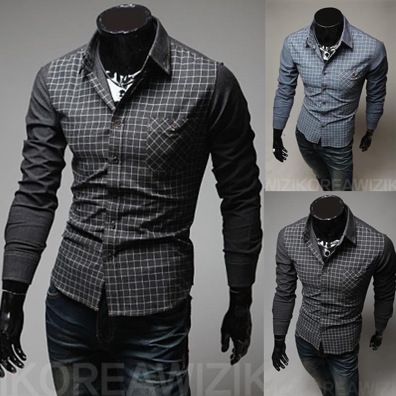 Best Quality New Fashion Men Casual Dress Shirt Men'S Slim Plaid ...