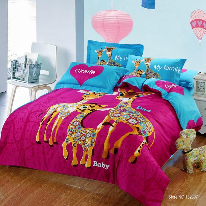 Fantastic 2018 100% Cotton Adult/Kids Cartoon Print Giraffe Bedding Set With  UJ57