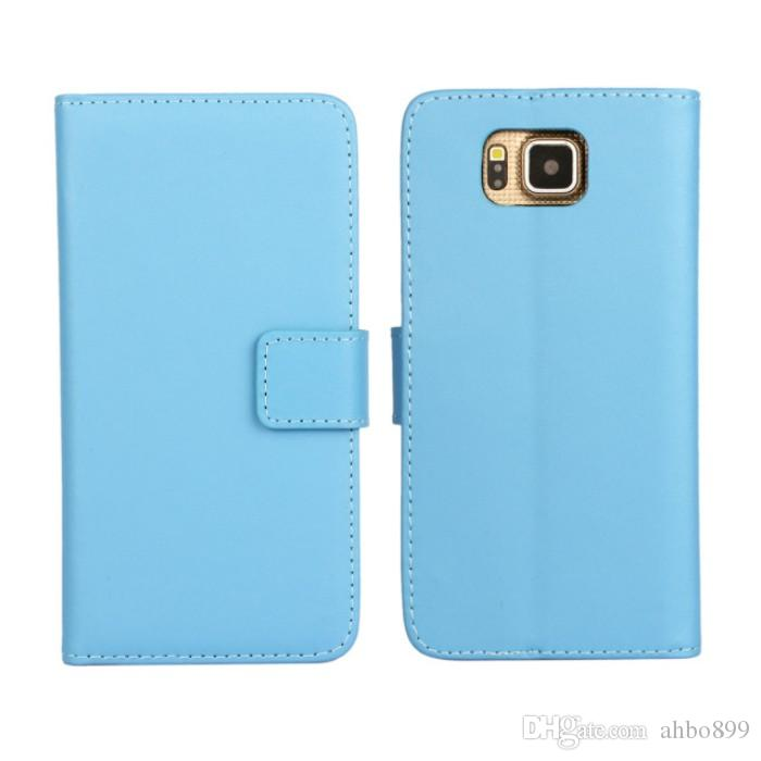 Wholeale alta calidad Negro carpeta del cuero genuino de la cubierta del caso para Samsung Galaxy Alfa G850 con estilo del soporte y el titular de la tarjeta de teléfono libre de caso