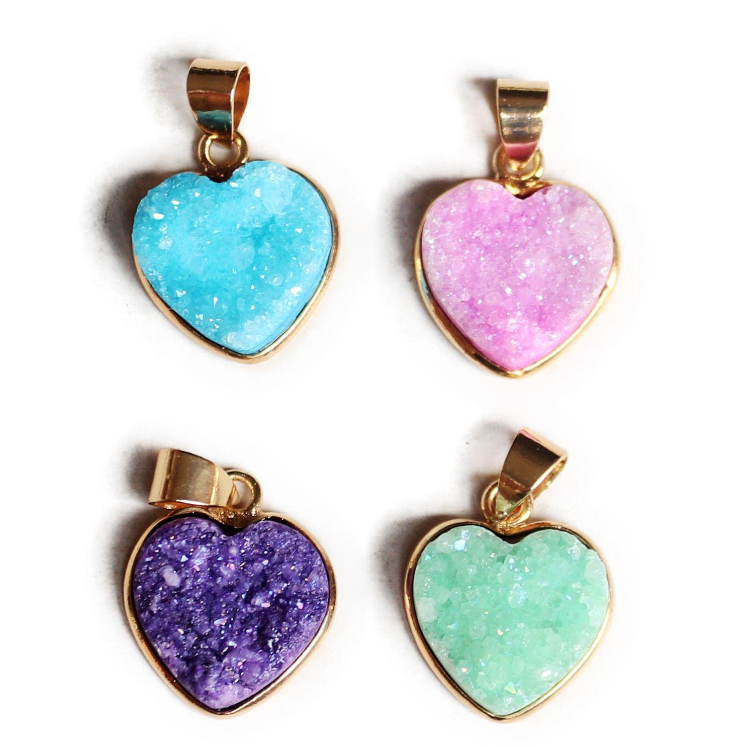 New Heart Pendant Natural Crystal Gemstone Pendant for Necklace Choker Fashion Jewelry Love Gift