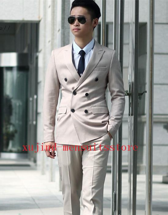Beige Double Breasted Suit - Go Suits