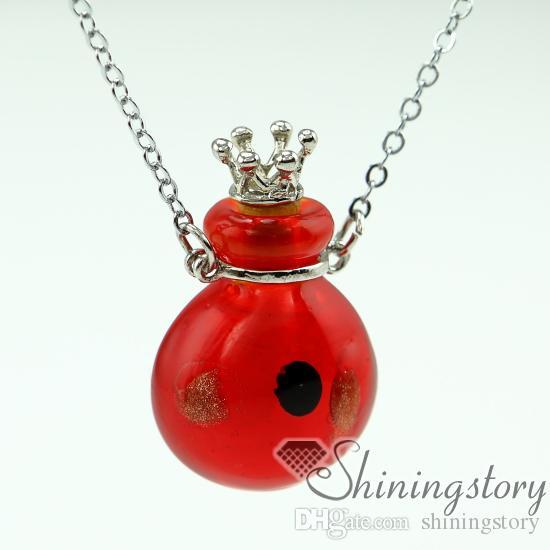 collar redondo de aromaterapia difusor difusor difusor collar de perfume botellas perfume colgantes pequeños viales de vidrio collares difusor necklac