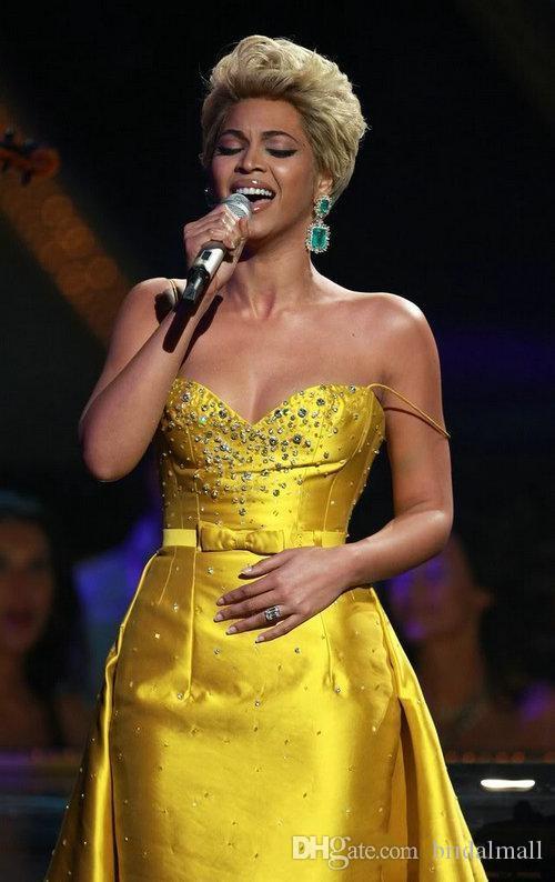 Beyonce Knowlesx Knielengte Formele Avondjurken Beaded Satin Juweel Neck Rocks Overskirt Party Prom Dress Red Carpet Celebrity Jurken