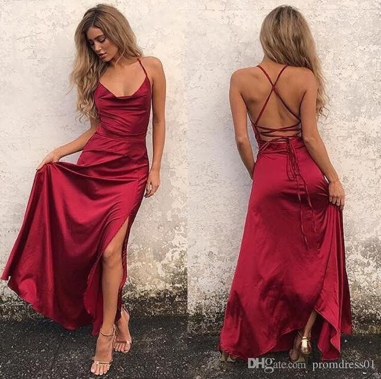 Hot Selling Dark Red Halter Split Side Criss Cross Long Prom Dresses Evening Dress for Wedding Party In Stock