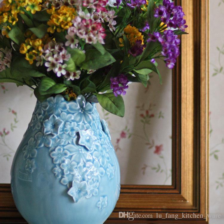 Ceramic Vase Blue Round Glaze Vintage Carved Flower Decoration
