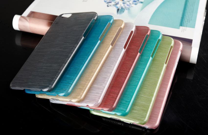 Nueva llegada de lujo duro cristal plástico plástico proceso de dibujo de alambre caso para iPhone 6 4.7 más pulgadas cubierta de la caja del teléfono móvil Shell protector SCA018