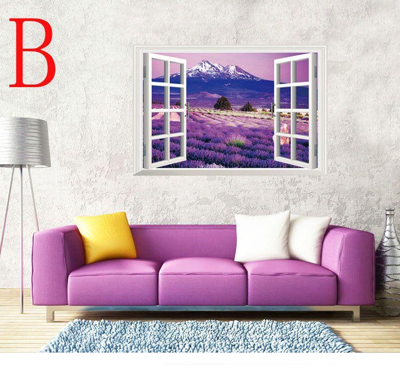 Flowers sakura Sea of Love lavender 3D window wall paper Cherry Blossom wall decor Removable Wall Sticker 60*90cm