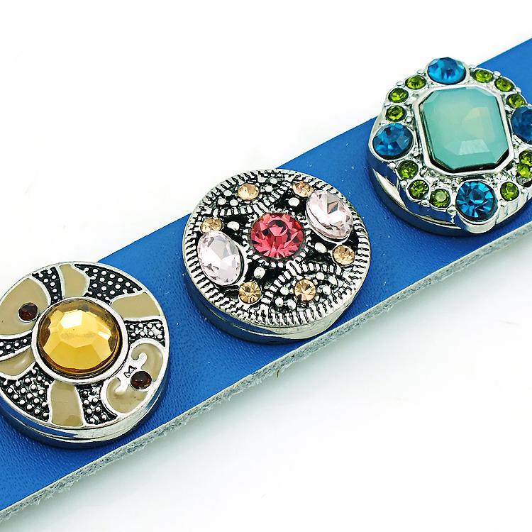 新しい到着カフブレスレットファッションインターチェンジ18mmスナップボタンインフィニティブルーレザーブレスレットDIYハンドメイドジュエリー