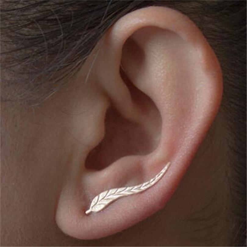 Jewelry Fashion Girl Silver Alloy Ear Sweep Wrap Lady Ear Climber Leafs Ear Stud Earrings QLM Brincos Bijoux Popular