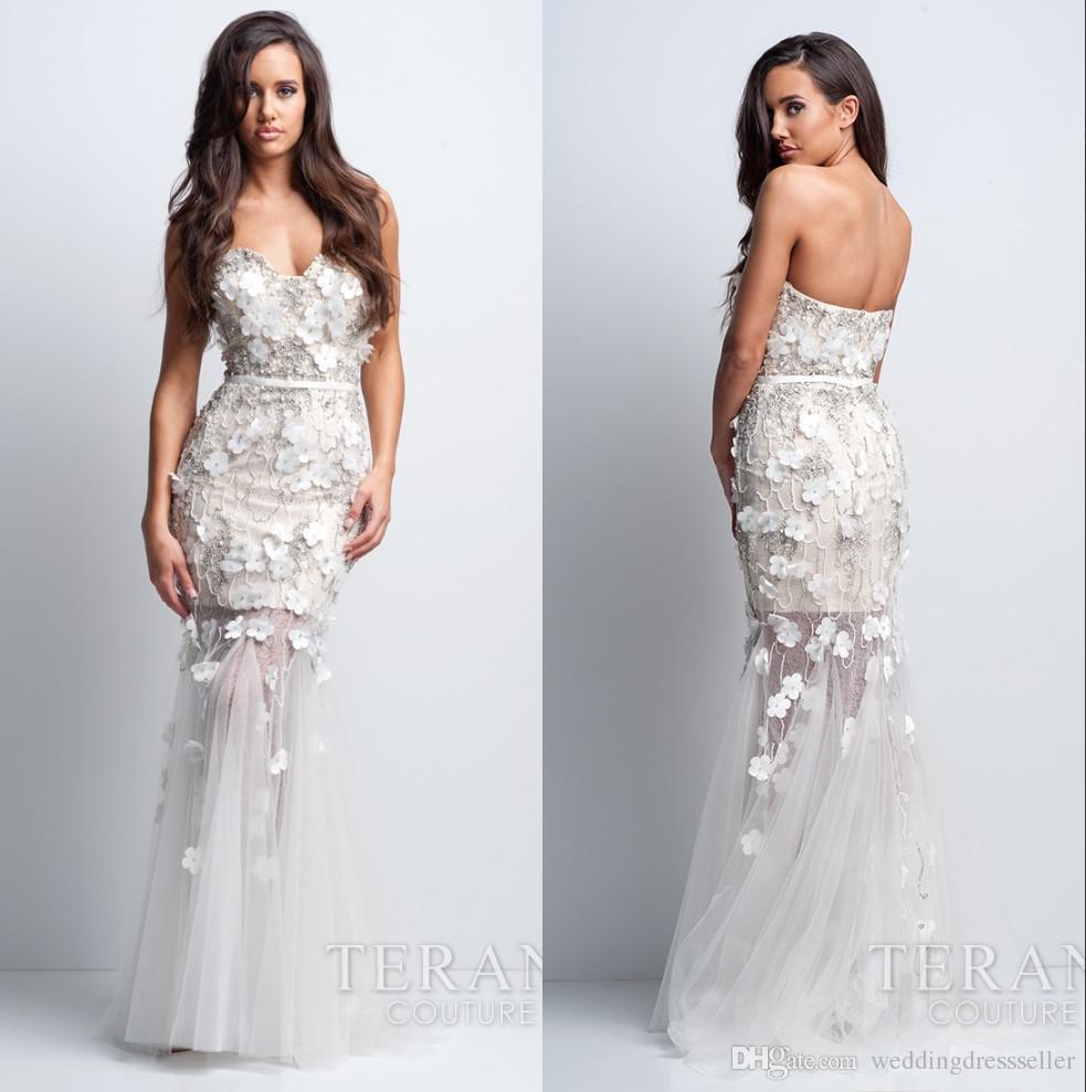 Elegant Beads White Prom Dresses 2016 See Through Water Melon ...