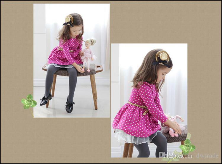 Girls long sleeve Dress 2-8Y Kids Autumn clothes children's dots dresses with belt Princess Party Dress MOQ:SVS0468#