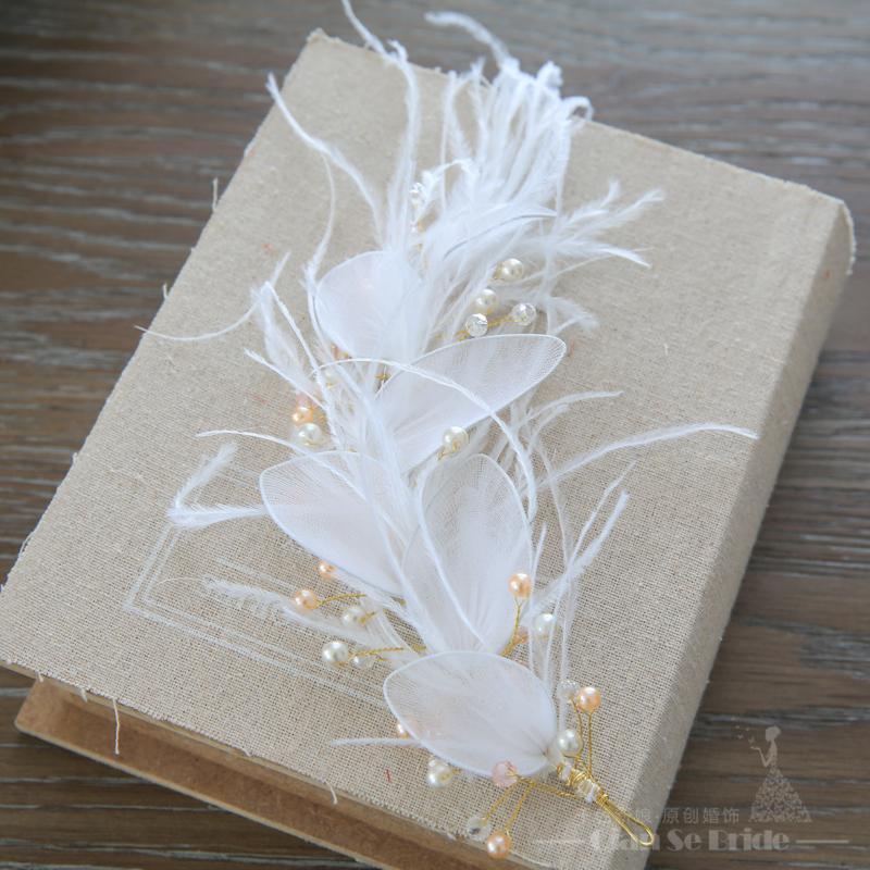 Büyüleyici Tüy hairwear kristal inci takı kız alın gelinlik kafa düğün aksesuarları çiçek saç süsler Hediyeler