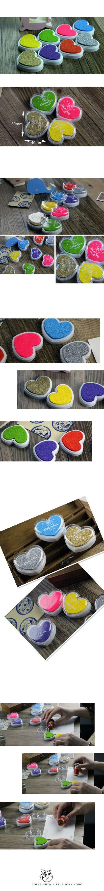 Finger Paint Heart Shape Inkpad Colorful Cartoon Inkpad Ink Stamp Ink Pad set for DIY funny Work Scrapbooking Album
