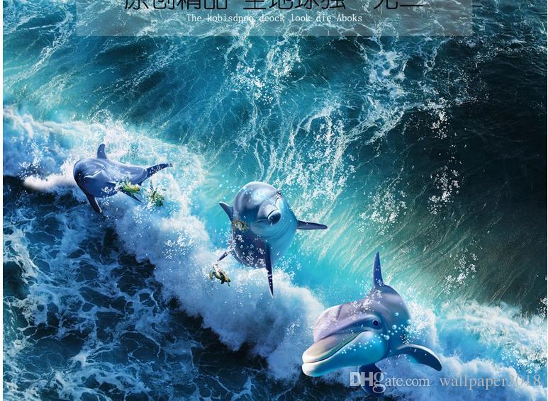Dolphin Ocean Wave World 3D bathroom living room floor Floor mural wallpaper
