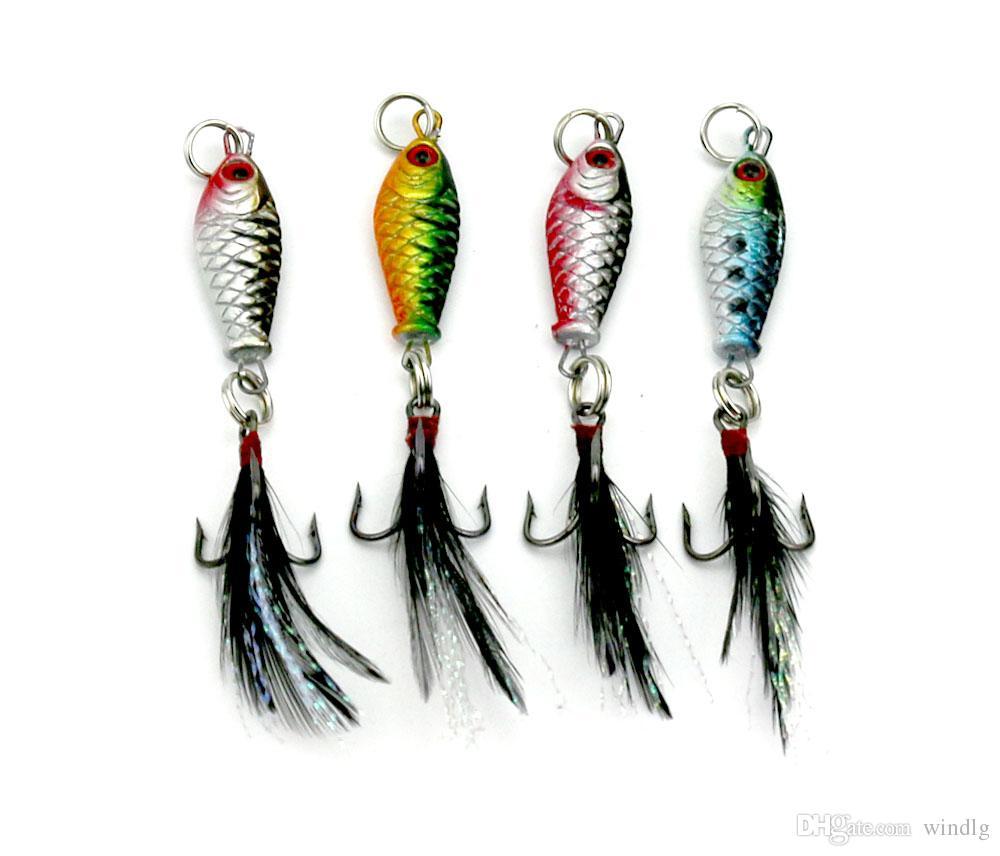 HENGJIA의 / 많은 리드 미끼 금속 미끼 깃털 후크 6.4g 4 색 태클 낚시 6g 8cm 다채로운 낚시 미끼의 crappies