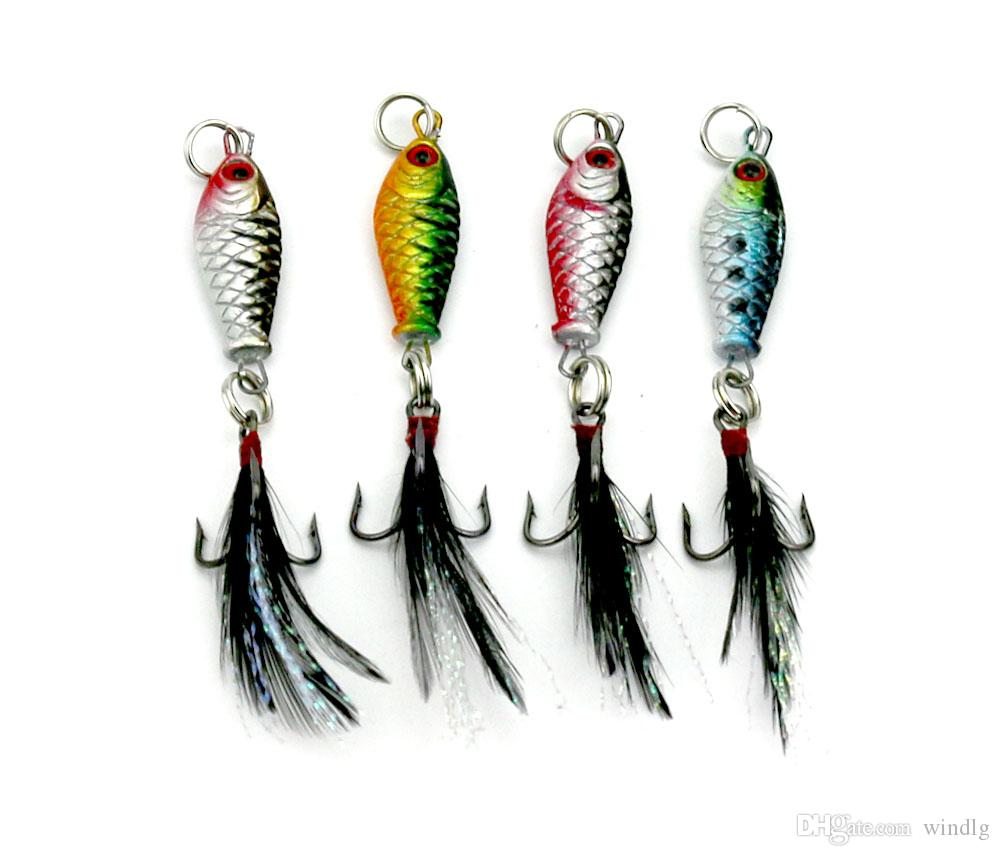 Hengjia / Piombo esca 6g 8cm colorati esche da pesca crappies attrezzatura da pesca metallo Bait piuma gancio 6.4g i