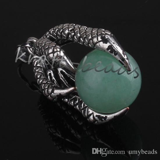 Hurtownie 10 sztuk Chiński styl posrebrzany naturalny zielony Aventurine Okrągły koralik Inlay Dragon Claw Wisiorek Urok Biżuteria