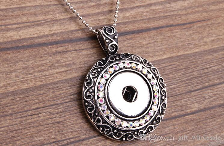 metal Ginger Snap Button Pendants Necklace with Crystal Jewelry Interchangeable Jewerly 3 Styles for Choices