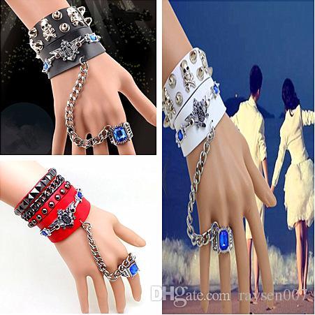 Unique Rock Spirit Skull Bracelets for Women/Men Rivet Gothic Skeleton Bracelet Charm Punk Biker Wide Cuff Leather Bracelet Ring Chain