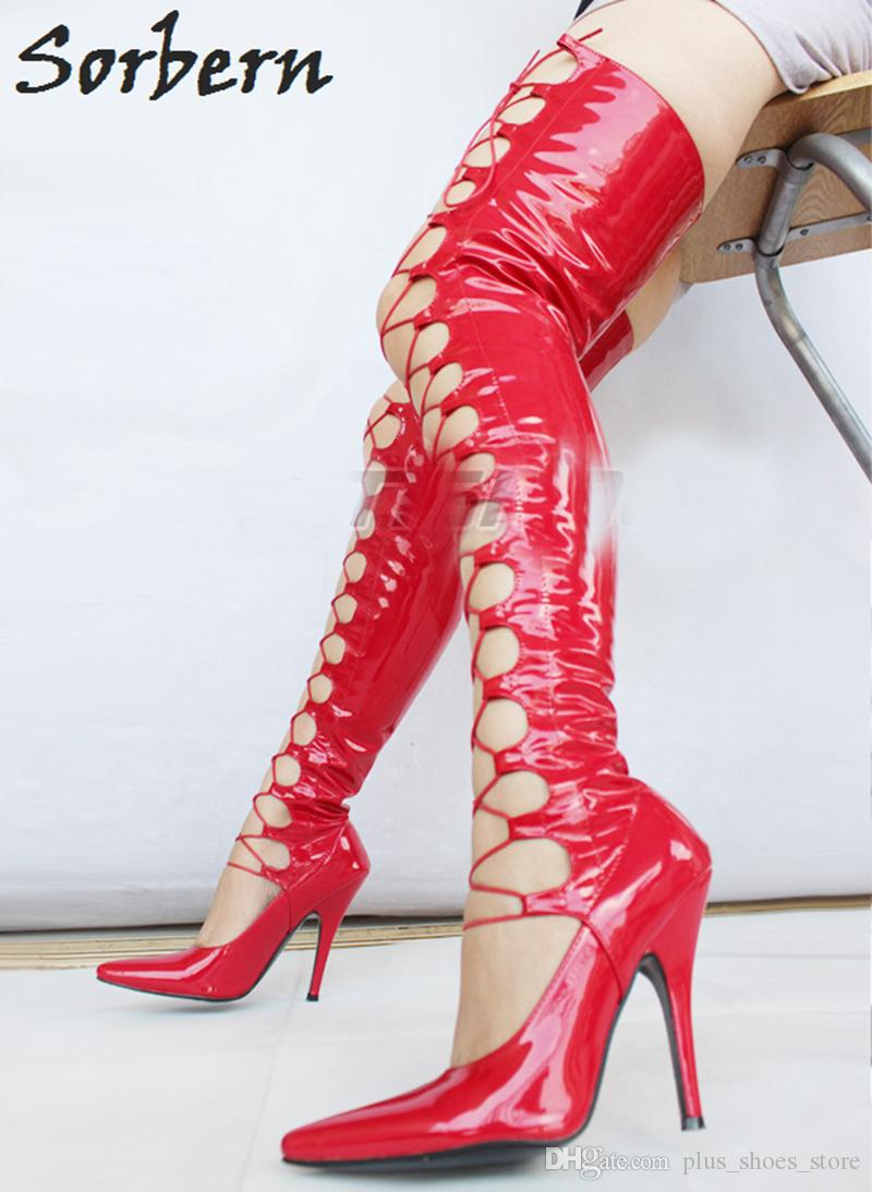 Sorbern Red Women Boots Long Patent Leather PU 12CM High Heel Lace-up Front Stilettos Heeled Boots Thigh High Pointed Toe Custom Colors