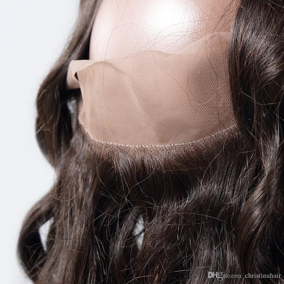 360 레이스 정면 폐쇄 8A 버진 브라질 루스 웨이브 인간의 머리카락 Pre Prelued Bleached Knots 130 % 밀도 22.5x4x2 내추럴 블랙 컬러
