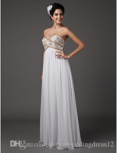 2016 New Fashion Popular Elegant White Floor-length Sweetheart Gold Beads Chiffon Sheath Wedding Dresses 266
