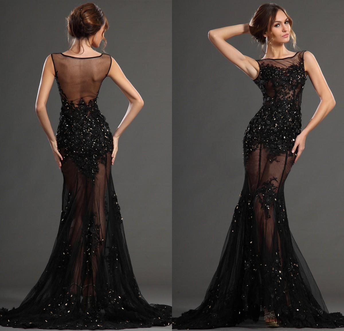 Sexy 2017 Long Black Dresses Evening Wear From Eiffelbride Bateau ...