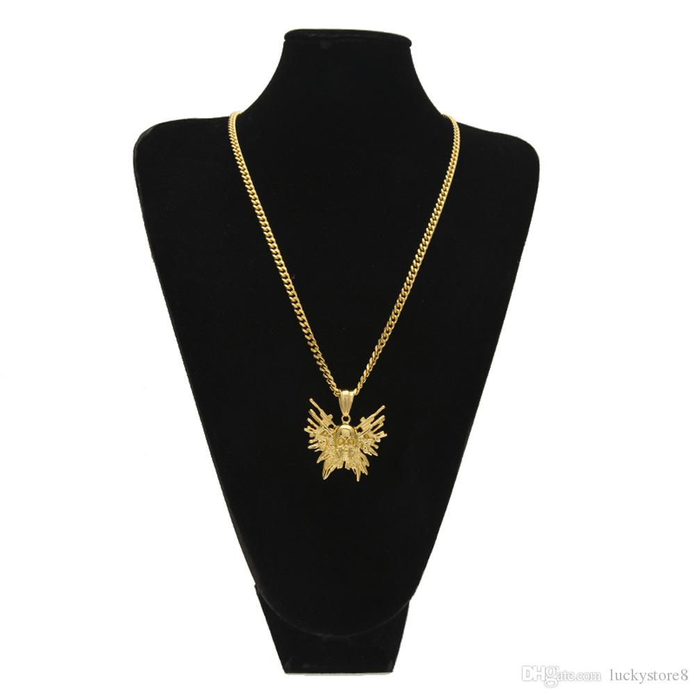 Золото готический череп пистолет кулон ожерелье из нержавеющей стали панк стиль мужские ювелирные изделия с высоким качеством