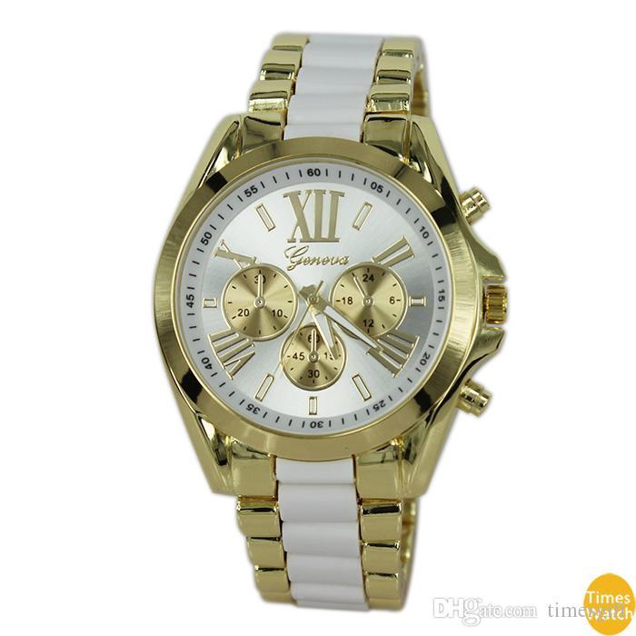 freie Verschiffen-Spitzenqualität 2015 neue Genf passt Frauen-Legierungs-Band-Quarz-Uhr-Mann-Golduhr-Marken-analoge Uhren auf