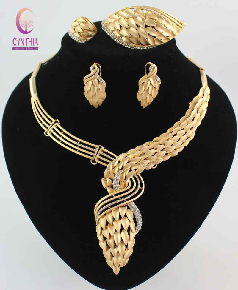 04aa3b300 New Arrival African Costume Jewelry Set 18K Gold Plated Crystal Wedding  Women Bridal Accessories Nigerian Necklace Jewelry Set Jewelry Boxes  African Women ...