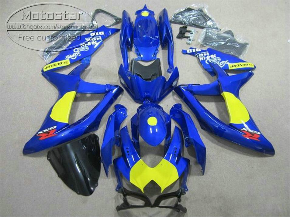 Высокое качество кузова набор для SUZUKI GSXR750 GSXR600 2008-2010 K8 обтекатели K9 GSX-R600/750 08 09 10 синий желтый черный обтекатель ks55