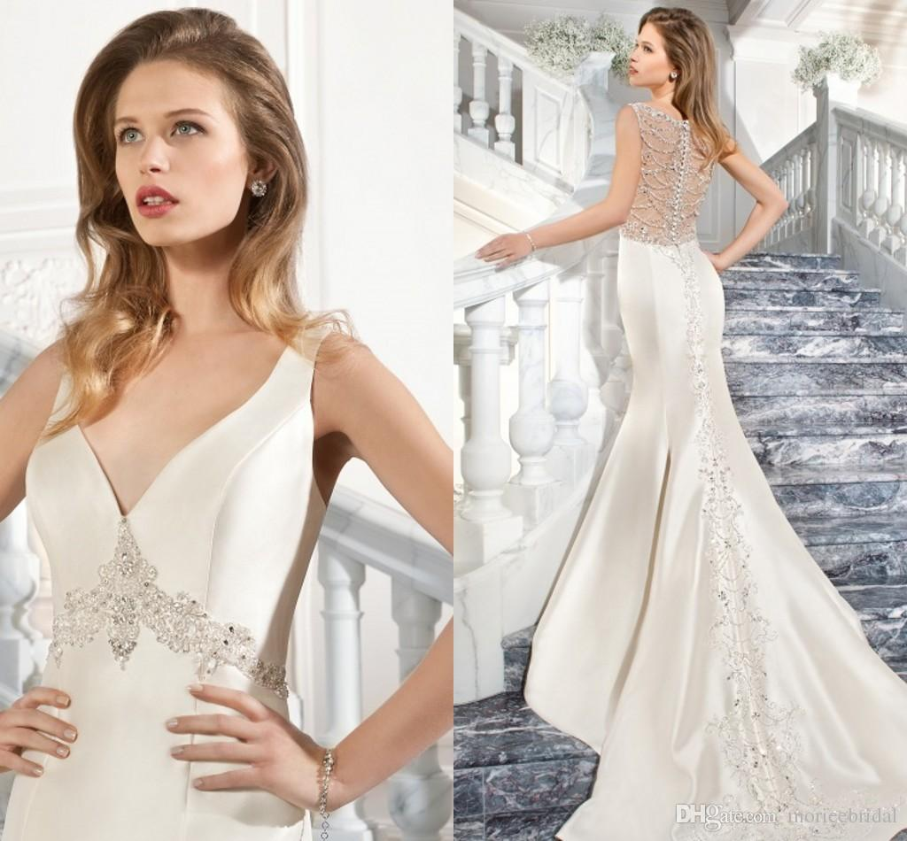 Form Fitting Wedding Gowns: Form Fitting Mikado Wedding Dresses V Neckline Jeweled