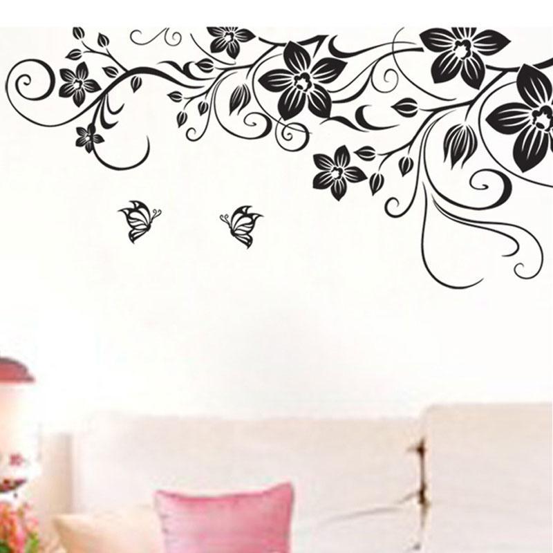 creative monochrome flower wall sticker bedroom mural wall stickers