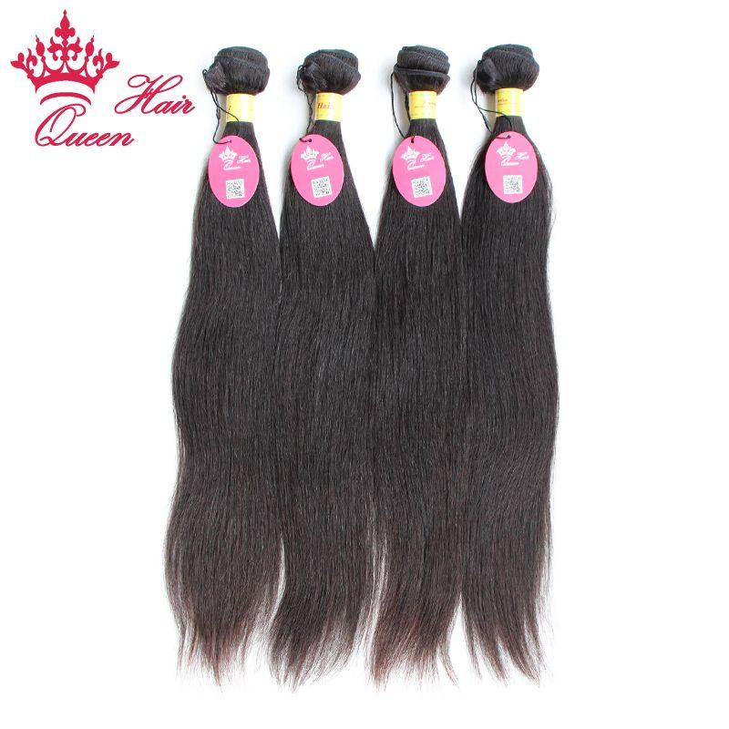 Queen Hair Products Peruvian Virgin Human Hair Extension Naturlig färg # 1b Vävar raka blandade längder 12-28 DHL frakt