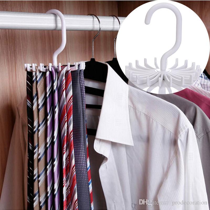 New Creative Plastic Portable Tie Rack For Closets Rotating Hook Holder Belts Scarves Hanger For Men Women Clothing Organizer