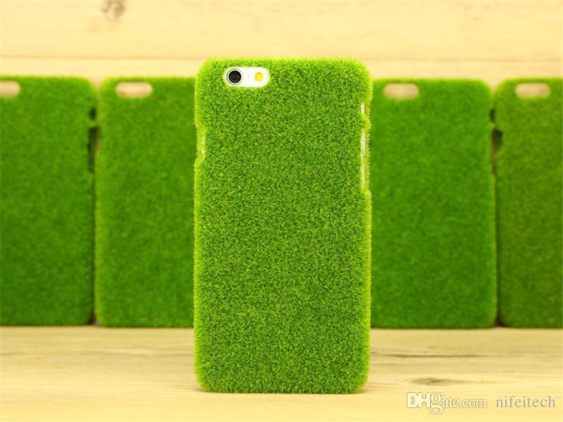 Divertido Shibaful verde 3D césped césped Sakura felpa caja de la PC dura para iPhone 6 6S Plus con caja al por menor
