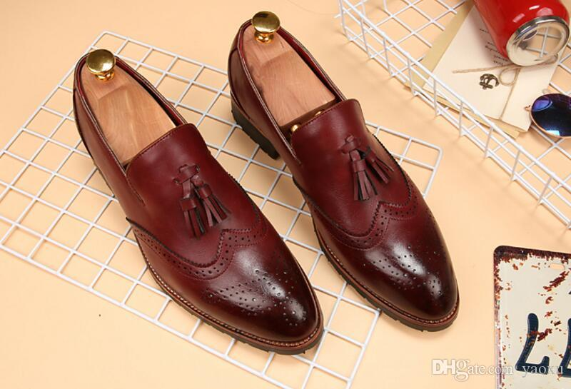 Luxury Brand 2019 Mens Pointed Toe Dress Shoes Famous Loafer Male ... bd4ee73eb470