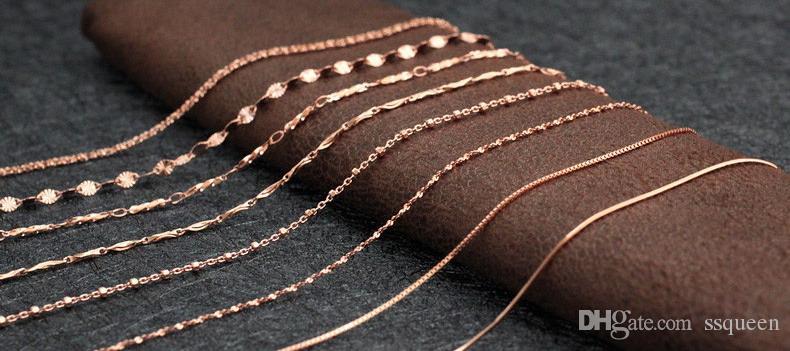18inches couches de haute qualité 3 anti-allergie plaqué or rose 18 carats Collier boîte en argent pour les femmes timbre 925