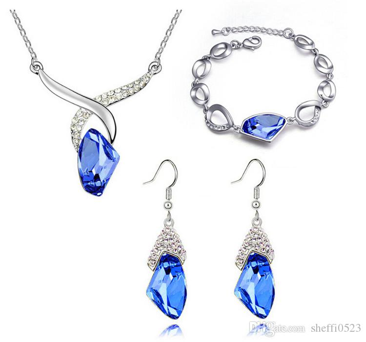 Austrian Crystal Necklace Earrings Bracelets Sets For Women Best Gift Top Quality Alloy Fashion Crystal Jewelry Sets 1064