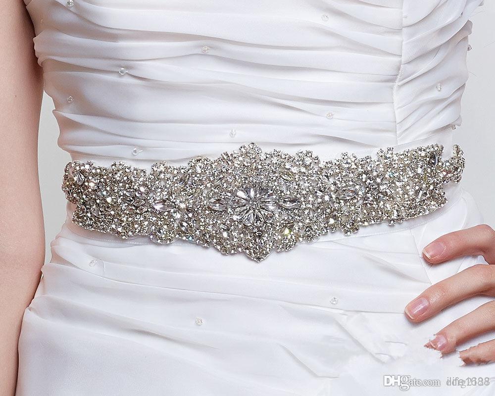 New Designer Fashion Wedding Bridal Dress Silver Floral Crystal ...