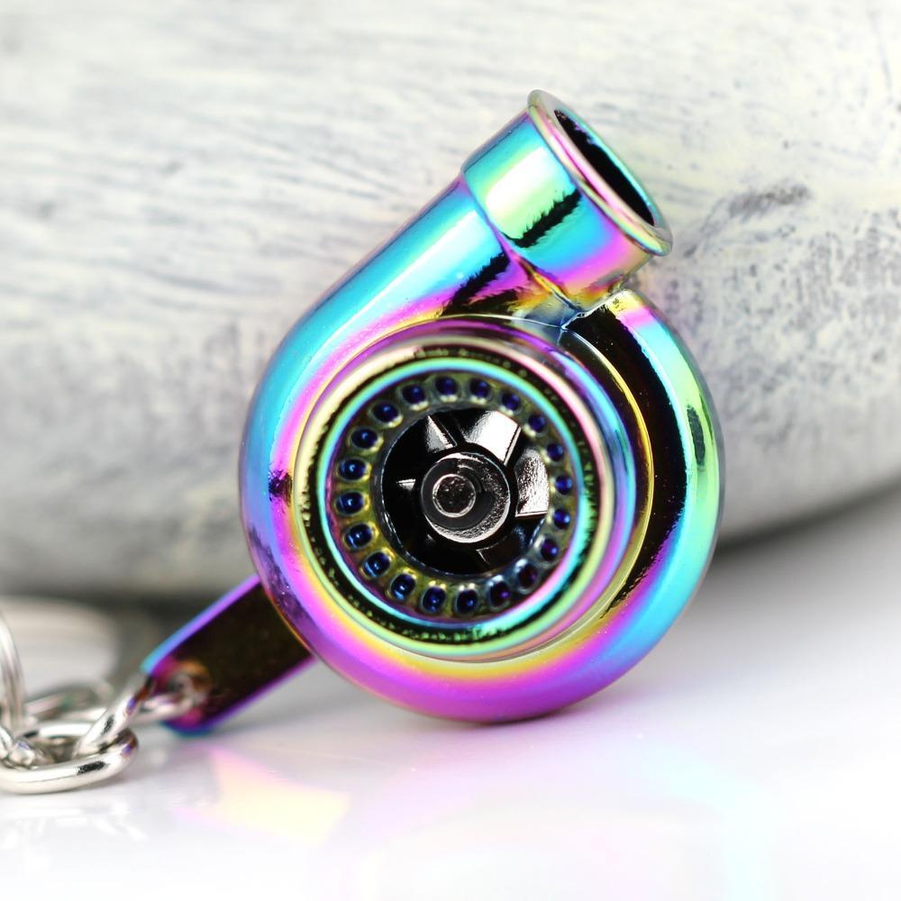 H86120-5 Gökkuşağı Renk Turbo Anahtarlık Otomobil Parçaları Modeli İplik Yeni Büyüleyici Turbo Anahtarlık Yüzük Anahtarlık Anahtarlık