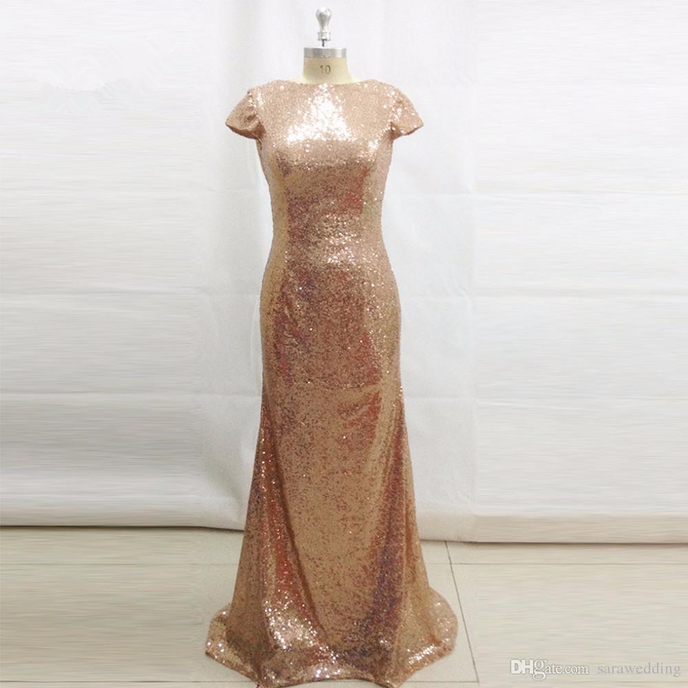 Bling Champage sirena vestido de dama de honor sin respaldo de manga corta vestidos de boda largos vestido de Madrinha de Casamento Longo