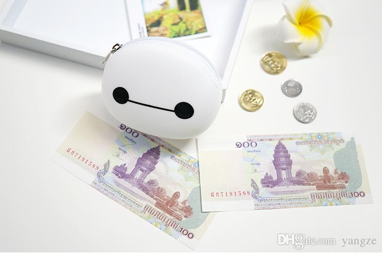 Hot Cute Baymax Mini Bags With Zipper White Cartoon Jelly Handbags Coin Purples Fashion Women Children Gift Silicon F074