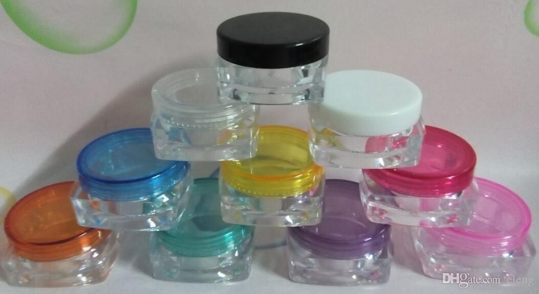 5ML square transparent Mini plastic bottles/ jars/ containers with lids for cosmetic packaging,cream jar PZ9