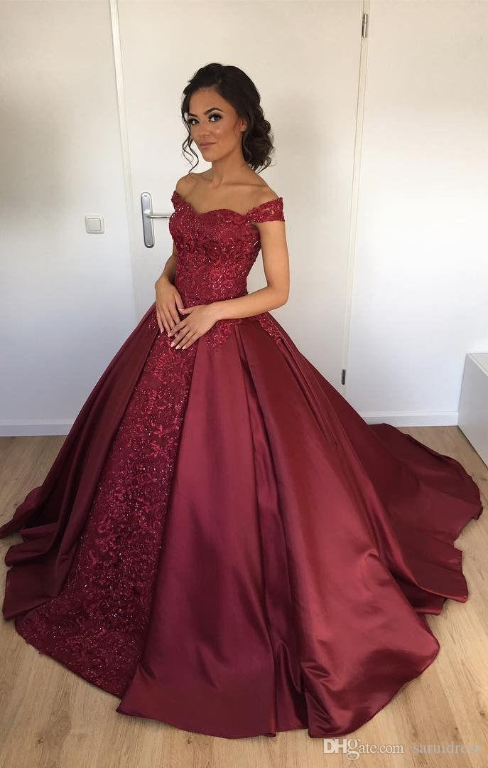 d4bca46d500 Off The Shoulder Burgundy Ball Gown Bridal Dresses Shinning Satin Wedding  Dresses Applique Lace Bridal Dress Ball Dresses Red Dress Wedding Dresses  Ball ...