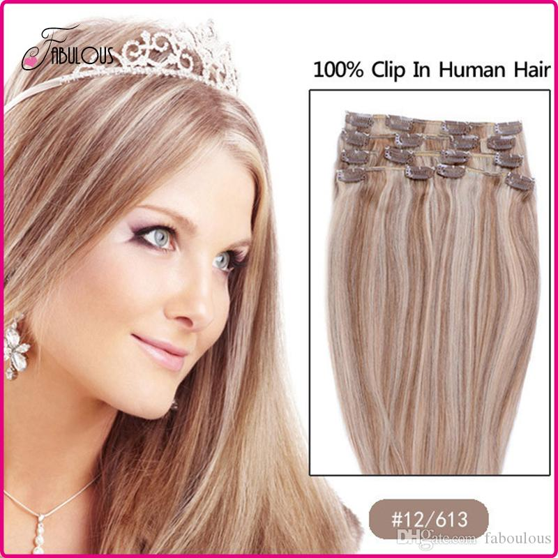 15 22inch Clip In Hair Extensions Brazilian Human Hair Full Head Set