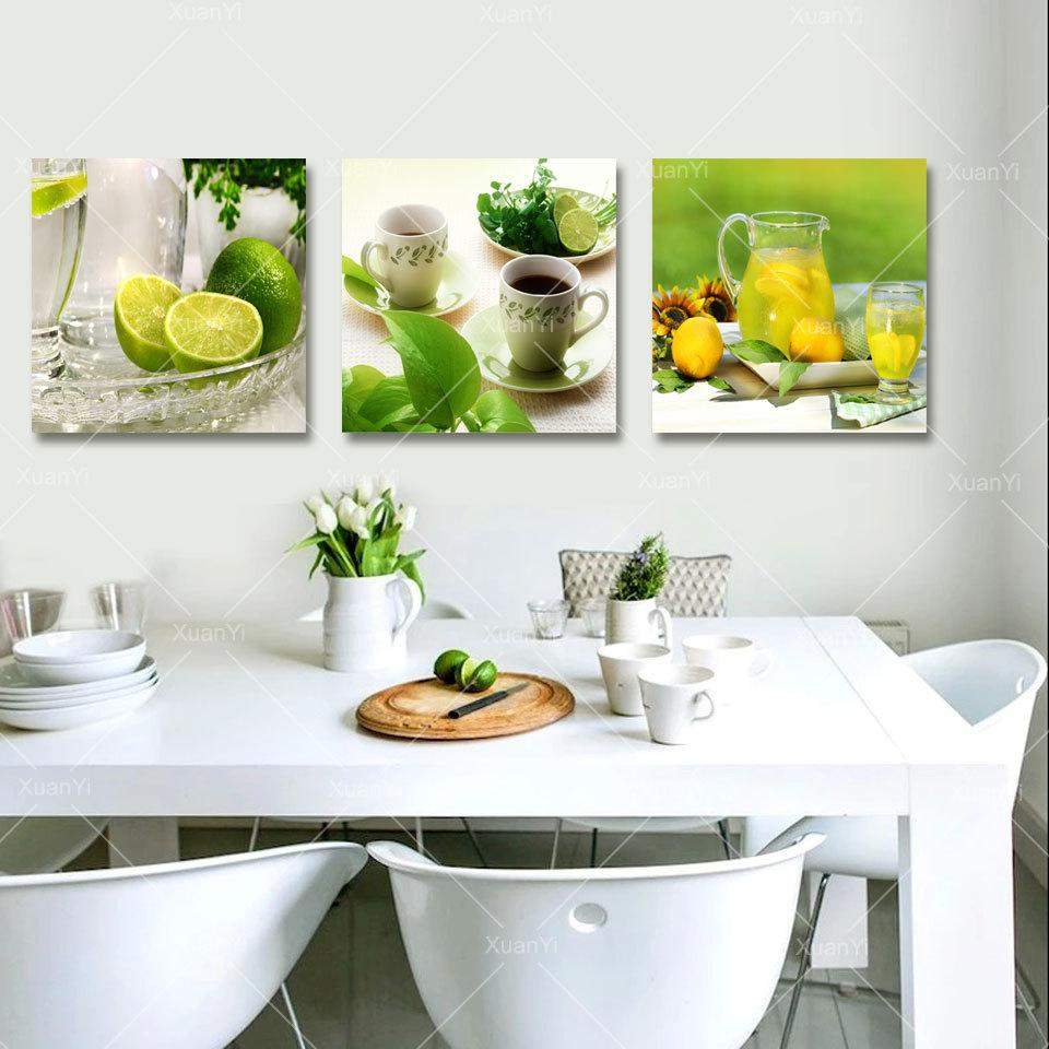 Kitchen Pictures For Wall: 2019 3 Panel Canvas Art Fruits Kitchen Canvas Painting