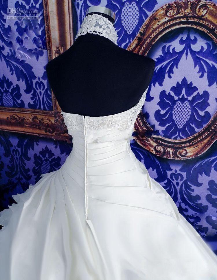 エレガントなホワイトのウェディングドレスホルターバックレスプリーツオーガンザブライダルドレス真珠ビーズスイープ列車フラウンスウェディングドレス2019夏