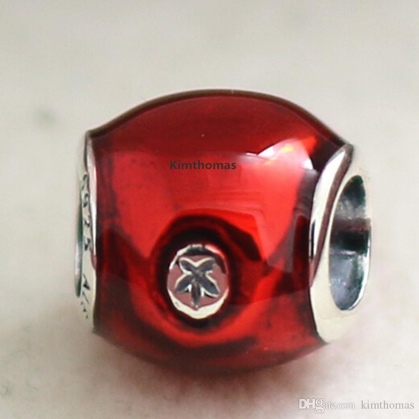 100% 925 Sterling Silver Snow Whites Apple Charm Bead with Red Enamel and Cz Fits European Jewelry Bracelets Necklaces & Pendants