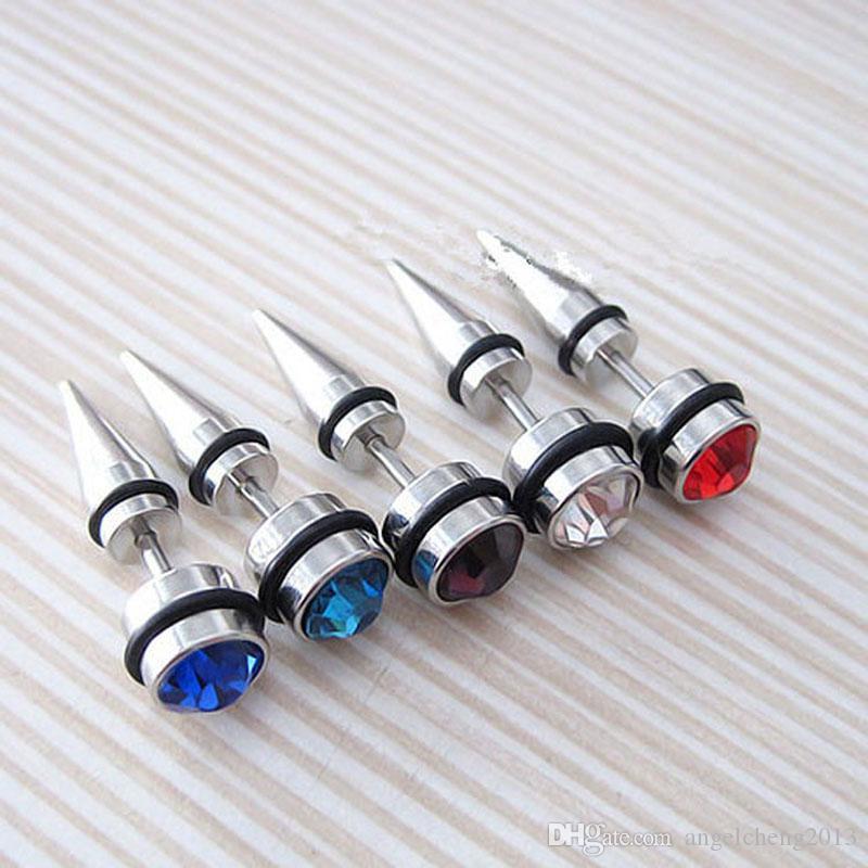 Gioielli il corpo alla moda Orecchini a bottone in acciaio inossidabile chirurgico 316L con gioielli traforati gioielli con piercing interno in cristallo